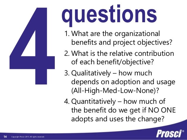 Copyright Prosci 2015. All rights reserved.14 questions 1. What are the organizational benefits and project objectives? 2....