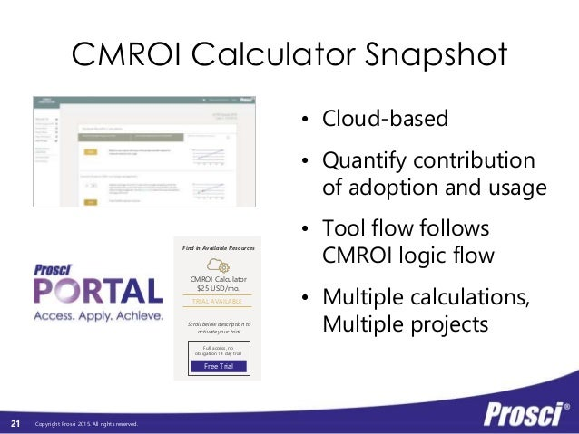 Copyright Prosci 2015. All rights reserved. CMROI Calculator Snapshot • Cloud-based • Quantify contribution of adoption an...
