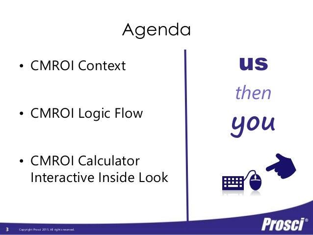 Copyright Prosci 2015. All rights reserved. Agenda • CMROI Context • CMROI Logic Flow • CMROI Calculator Interactive Insid...
