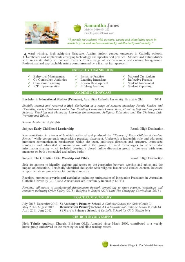 Graduate Resume Writing Sample