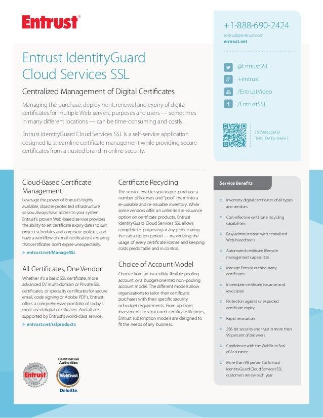 Entrust Identityguard Cloud Services Ssl Certificate Management