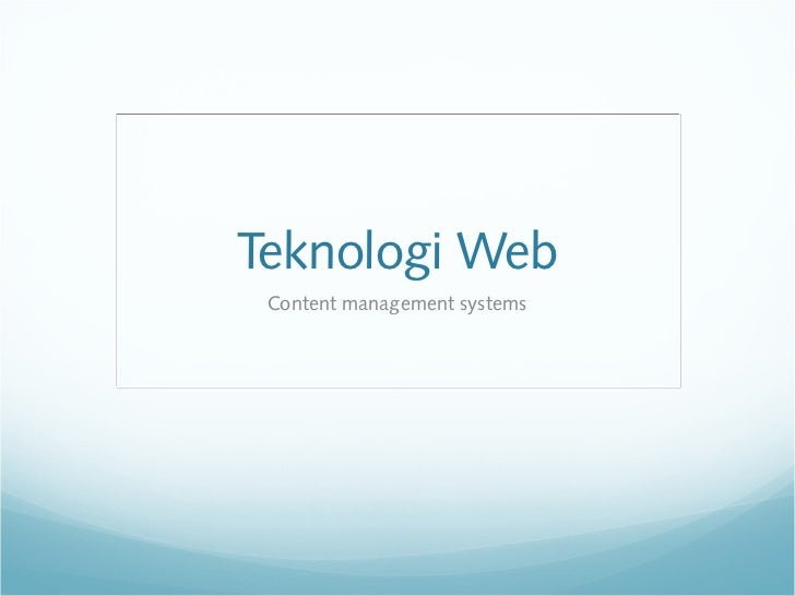 Teknologi Web Content management systems