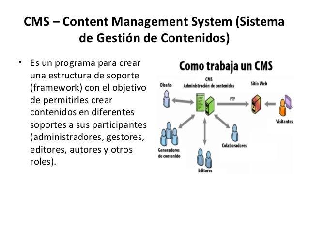 CMS – Content Management System (Sistemade Gestión de Contenidos)• Es un programa para crearuna estructura de soporte(fram...