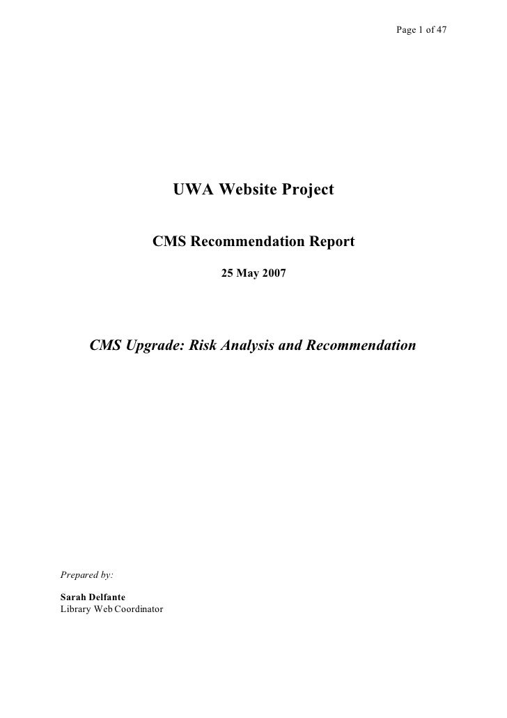 Page 1 of 47                               UWA Website Project                       CMS Recommendation Report            ...