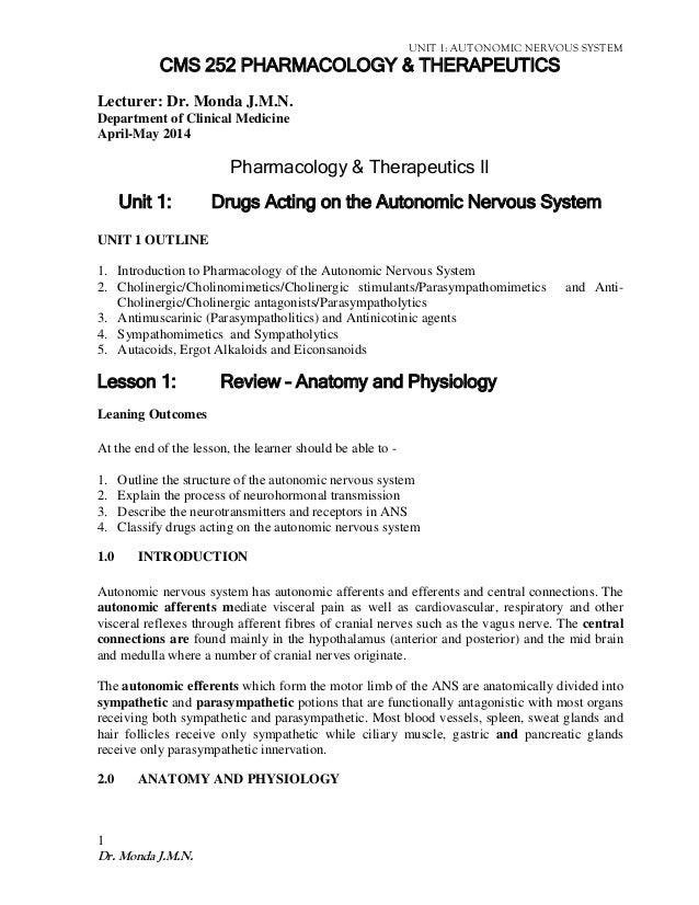 Clinical Pharmacology notes:Drugs acting on the autonomic nervous sys…