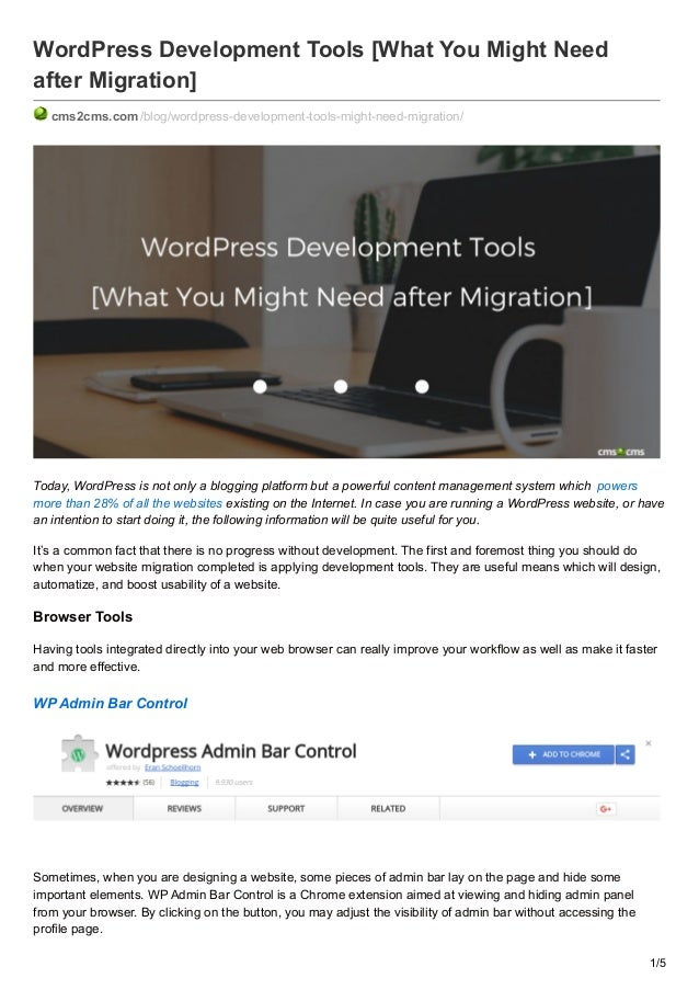 WordPress Development Tools [What You Might Need after Migration]  cms2cms.com/blog ...