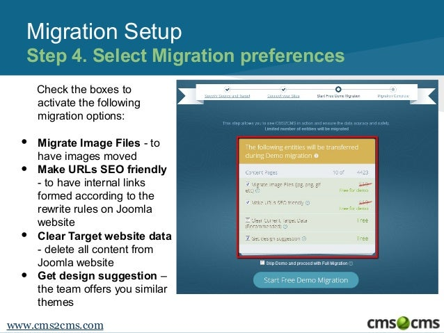 Migration Setup Step 4. Select Migration preferences Check the boxes to activate the following migration options:  • • • •...
