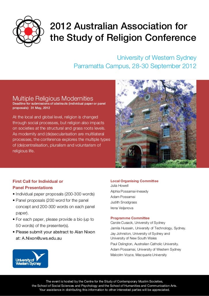 2012 Australian Association for                         the Study of Religion Conference                                  ...