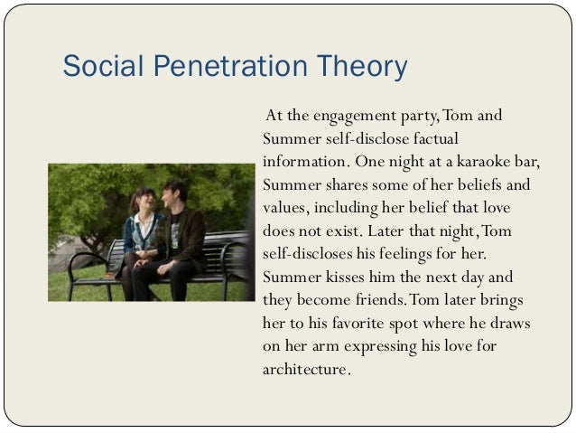 an analysis of the social penetration theory Megan guerrieri & mike hurlimann movie analysis #1 - the blind side dr swarts - communication theory 10-28-13 the blind side is a movie that applies to various theories in communication by showing specific examples of symbolic interaction, uncertainty reduction, social penetration, and expectancy violations.