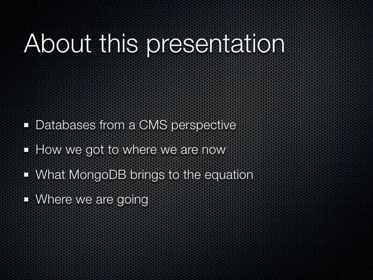 Content Mangement Systems and MongoDB Slide 3