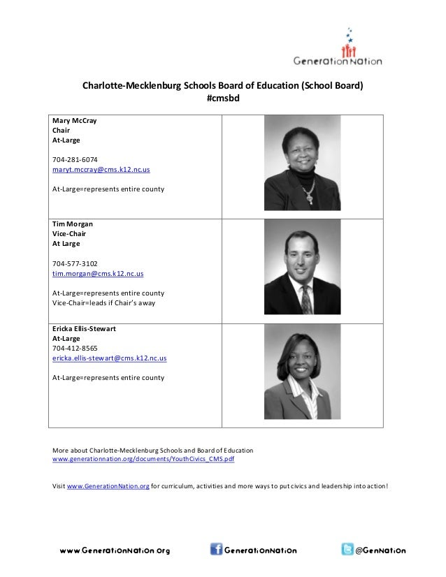 Charlotte‐Mecklenburg Schools Board of Education (School Board)  #cmsbd    Mary McCray  Chair  At‐Large    704‐281‐6074 ...