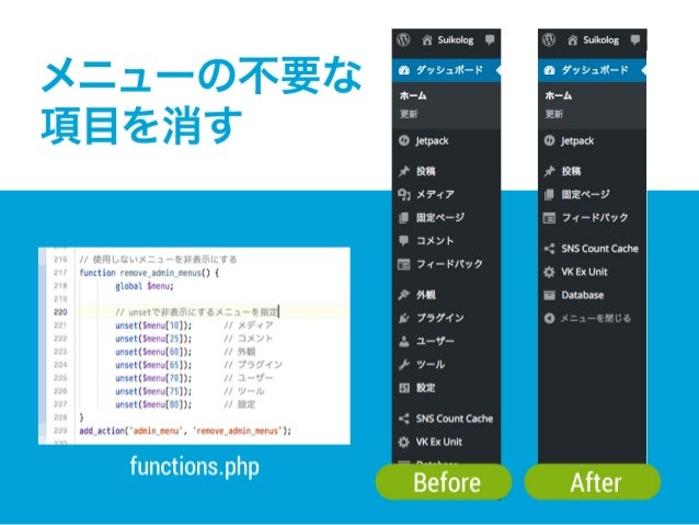 functions.php Before After メニューの不要な 項目を消す
