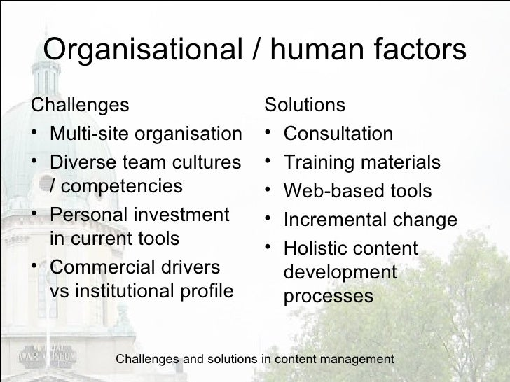 Challenges and solutions in content management