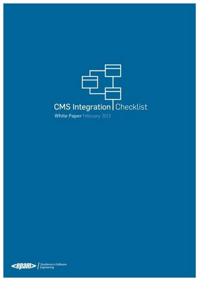 CMS Integration Checklist  Contents  CMS FUNCTIONAL FLOW   3  CONSUME   4  PROCESS6 DELIVER10 RETAIN15 CMS INTEROPERA...