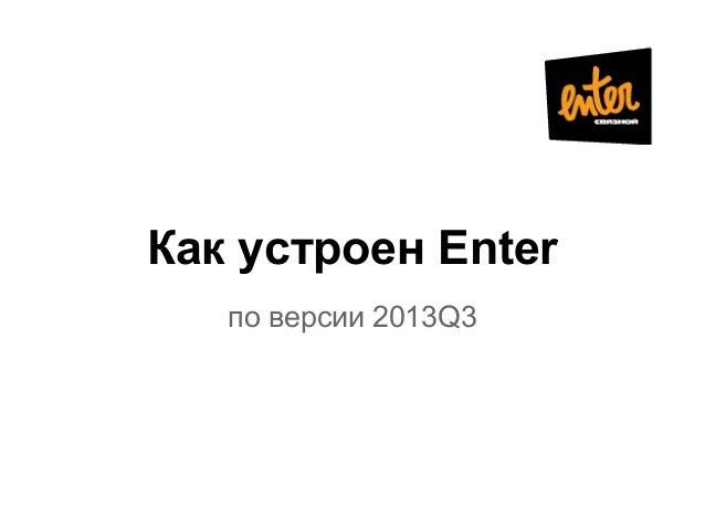 Как устроен Enter по версии 2013Q3