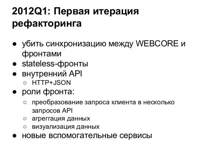 2012Q1: Первая итерация рефакторинга ● убить синхронизацию между WEBCORE и фронтами ● stateless-фронты ● внутренний API ○ ...
