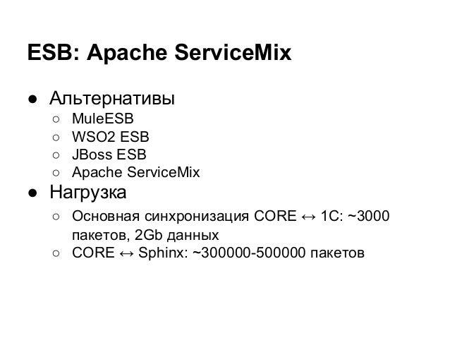 ESB: Apache ServiceMix ● Альтернативы ○ MuleESB ○ WSO2 ESB ○ JBoss ESB ○ Apache ServiceMix ● Нагрузка ○ Основная синхрониз...