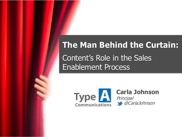 The Man Behind the Curtain:Content's Role in the SalesEnablement ProcessCarla JohnsonPrincipal@CarlaJohnson