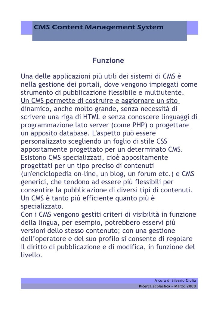 Cms, Content Management System. Sistema di gestione dei contenuti Slide 3
