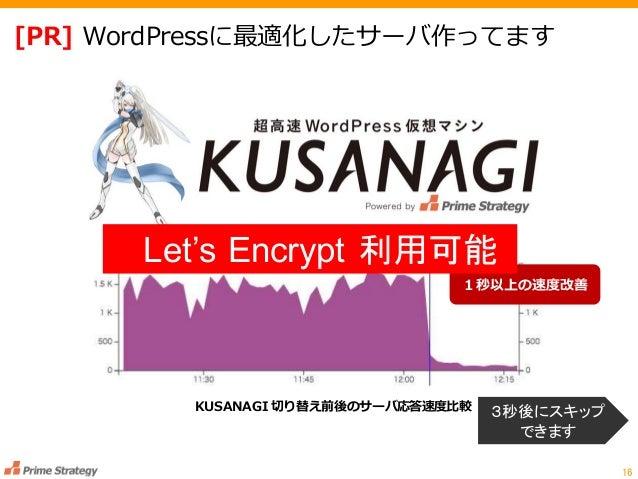 [PR] WordPressに最適化したサーバ作ってます 16 KUSANAGI 切り替え前後のサーバ応答速度比較 1秒以上の速度改善 3秒後にスキップ できます Let's Encrypt 利用可能