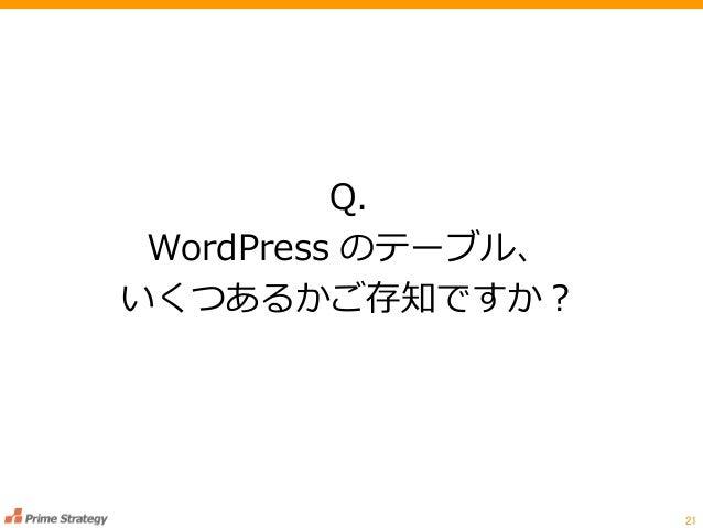 Q. WordPress のテーブル、 いくつあるかご存知ですか? 21