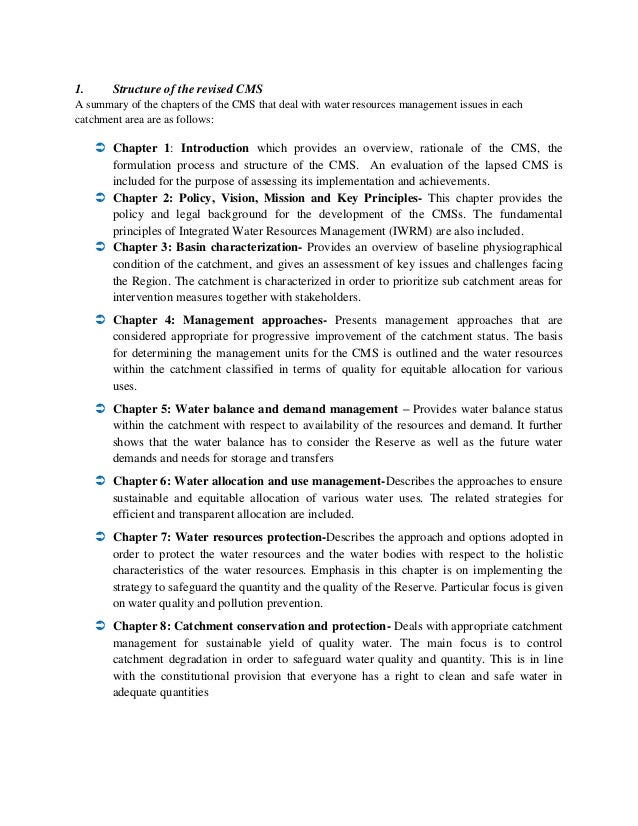 1. Structure of the revised CMS A summary of the chapters of the CMS that deal with water resources management issues in e...