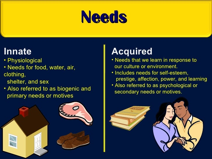 innate needs and acquired needs examples