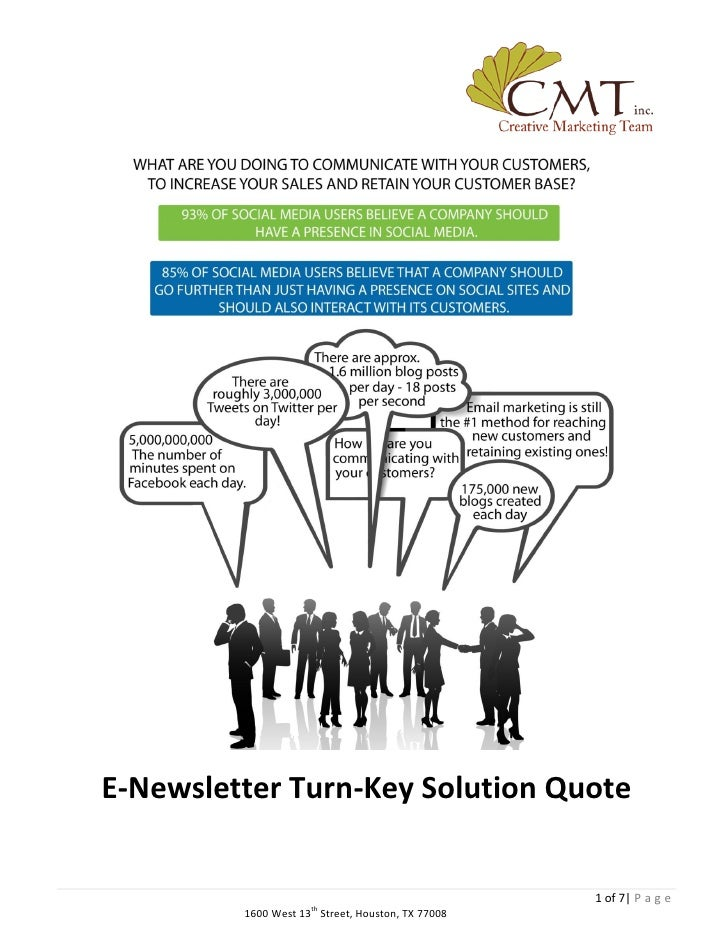 E-Newsletter Turn-Key Solution Quote                                                       1 of 7| P a g e          1600 W...