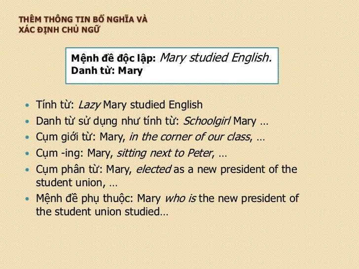 THÊM THÔNG TIN BỔ NGHĨA VÀXÁC ĐỊNH CHỦ NGỮ           Mệnh đề độc lập: Mary   studied English.           Danh từ: Mary    ...