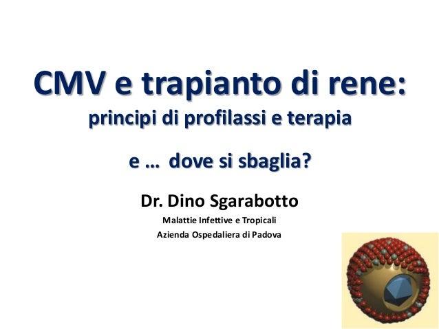CMV e trapianto di rene:   principi di profilassi e terapia       e … dove si sbaglia?         Dr. Dino Sgarabotto        ...