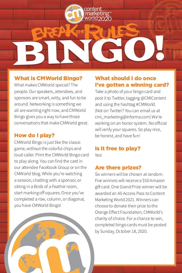 BINGO! What is CMWorld Bingo? What makes CMWorld special? The people. Our speakers, attendees, and sponsors are smart, wit...