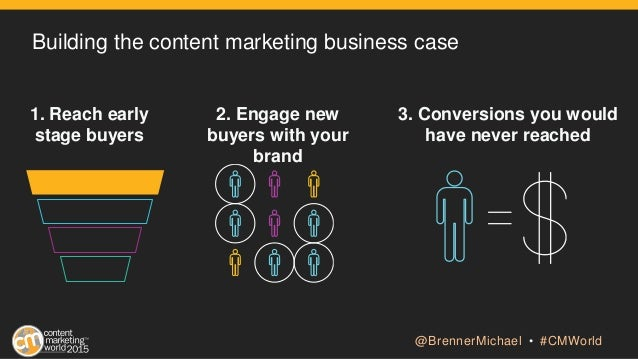 Building the content marketing business case 1. Reach early stage buyers 2. Engage new buyers with your brand 3. Conversio...