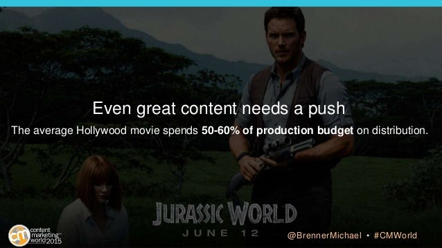 Even great content needs a push The average Hollywood movie spends 50-60% of production budget on distribution. @BrennerMi...