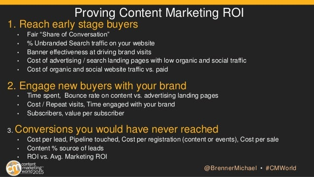 "Proving Content Marketing ROI 1. Reach early stage buyers • Fair ""Share of Conversation"" • % Unbranded Search traffic on y..."
