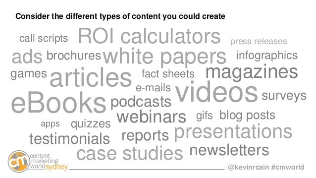 @kevinrcain #cmworld case studies articlese-mails fact sheets blog posts podcasts videos white papers webinars reports inf...