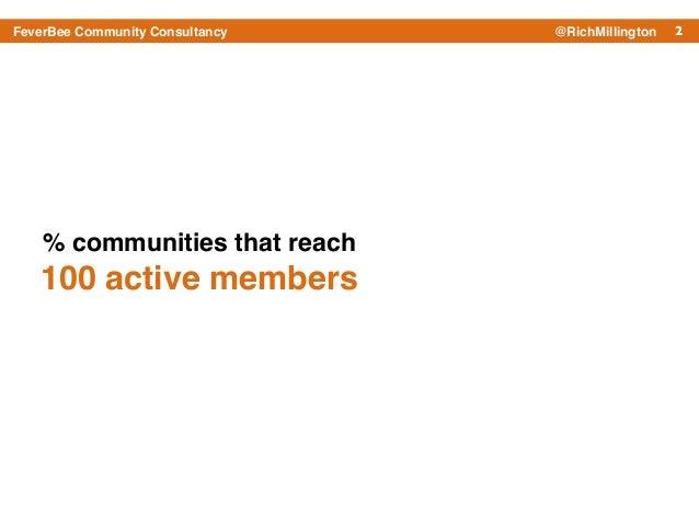 2FeverBee Community Consultancy @RichMillington % communities that reach ! 100 active members