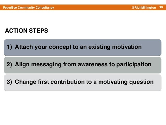 39FeverBee Community Consultancy @RichMillington ACTION STEPS 1) Attach your concept to an existing motivation! 2) Align m...