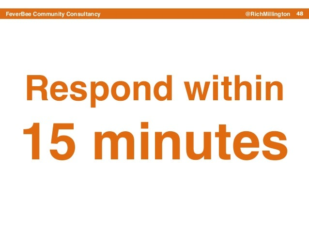 48FeverBee Community Consultancy @RichMillington Respond within 15 minutes