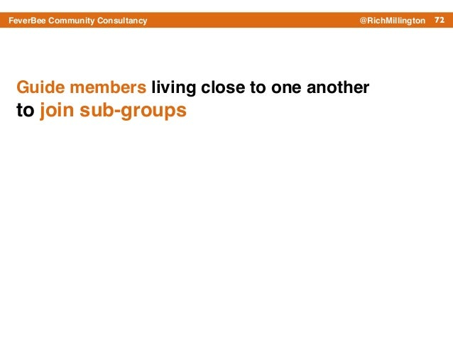 72FeverBee Community Consultancy @RichMillington Guide members living close to one another ! to join sub-groups