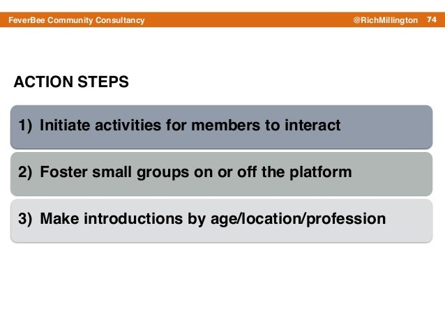 74FeverBee Community Consultancy @RichMillington ACTION STEPS 1) Initiate activities for members to interact! 2) Foster sm...