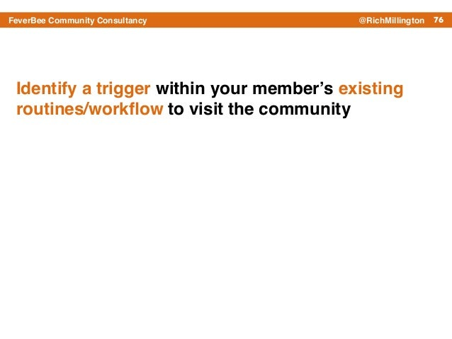 76FeverBee Community Consultancy @RichMillington Identify a trigger within your member's existing routines/workflow to visi...