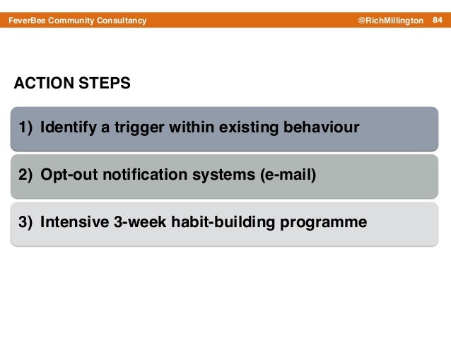 84FeverBee Community Consultancy @RichMillington ACTION STEPS 1) Identify a trigger within existing behaviour! 2) Opt-out ...