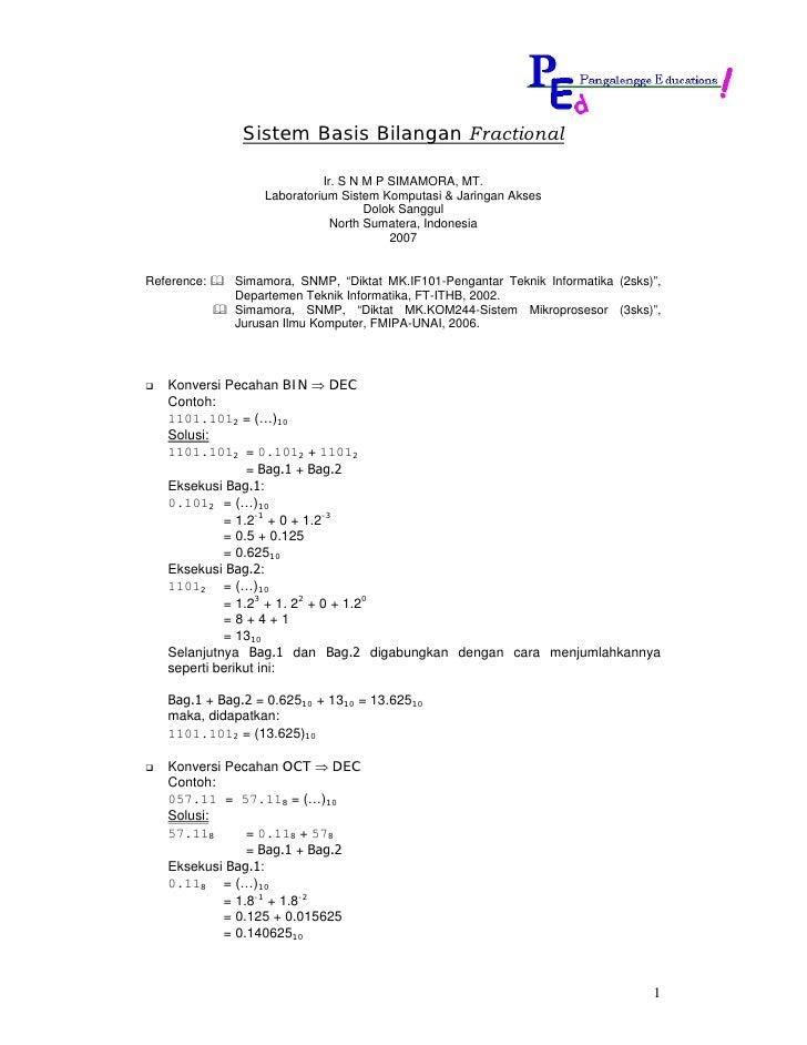 Sistem Basis Bilangan Fractional                              Ir. S N M P SIMAMORA, MT.                   Laboratorium Sis...