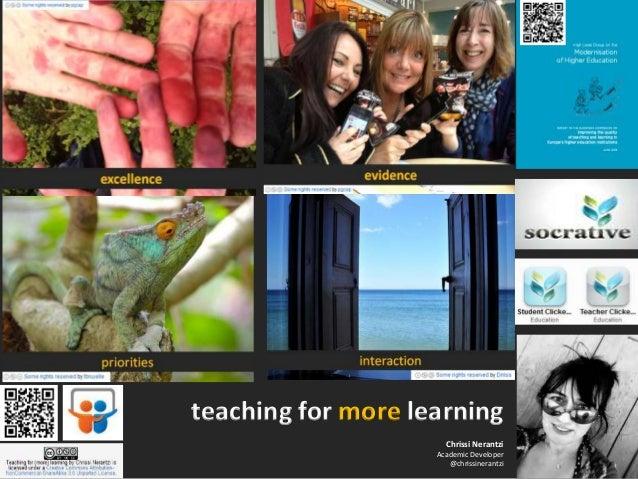 Chrissi Nerantzi Academic Developer @chrissinerantzi teaching for more learning