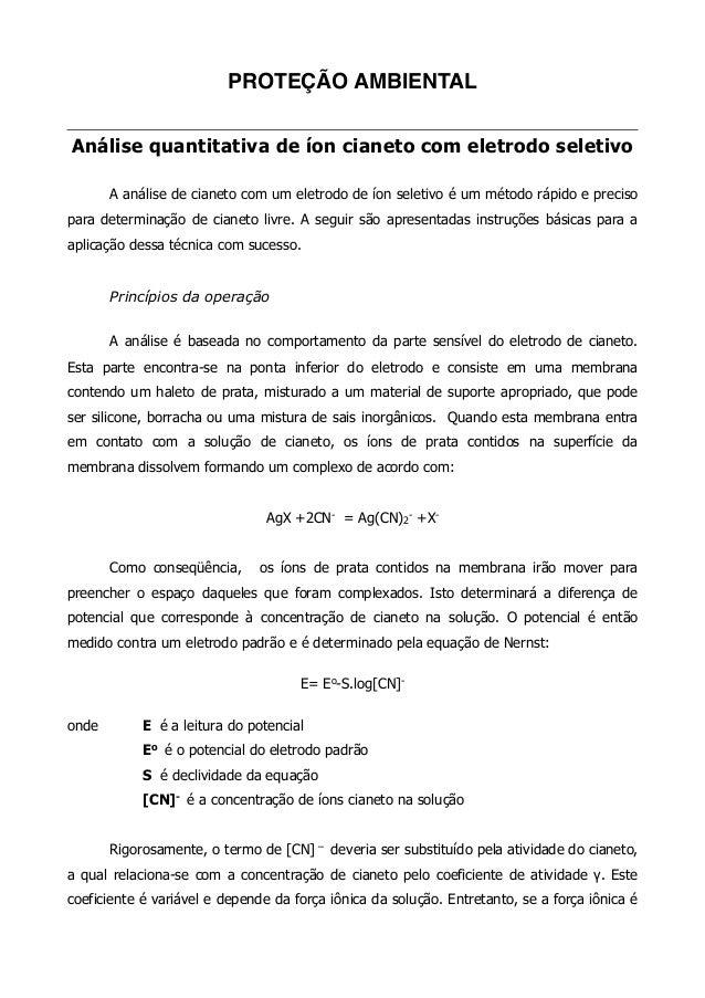 PROTEÇÃO AMBIENTAL!  !  Análise quantitativa de íon cianeto com eletrodo seletivo  !  A análise de cianeto com um eletrodo...