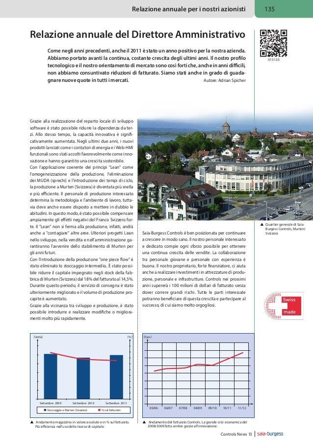 Relazione annuale per i nostri azionisti  135  Relazione annuale del Direttore Amministrativo Come negli anni precedenti, ...