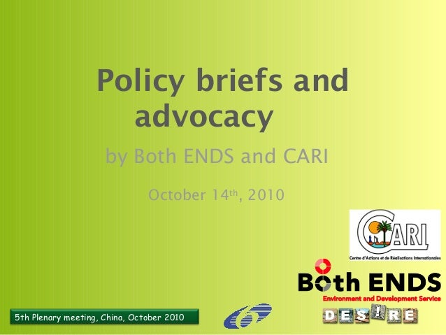 5th Plenary meeting, China, October 2010 Policy briefs and advocacy by Both ENDS and CARI October 14th , 2010