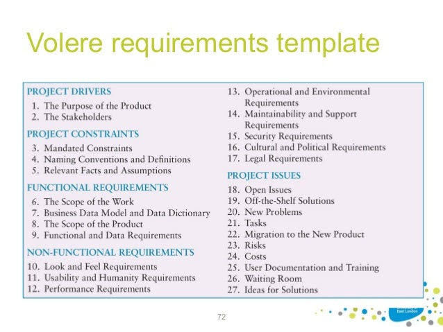 Requirements Specification Template  Volere