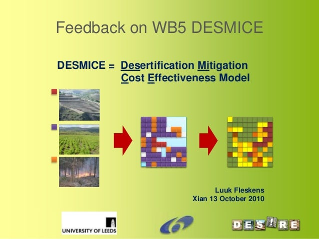 Panel Review Meeting, Brussels, 17th June 2009 Feedback on WB5 DESMICE DESMICE = Desertification Mitigation Cost Effective...