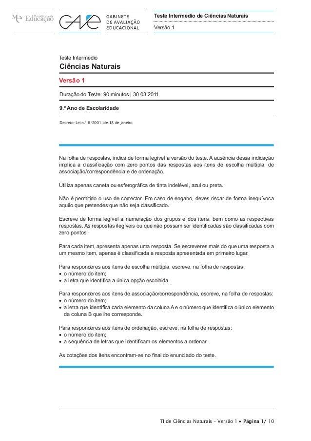 Teste Intermédio de Ciências Naturais                                           Versão 1Teste IntermédioCiências NaturaisV...